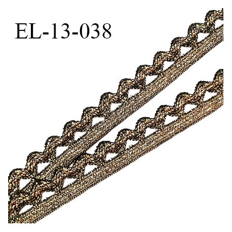 Elastique picot 13 mm style lurex élastique souple couleur noir et or largeur 6 mm + picots largeur 7 mm prix au mètre