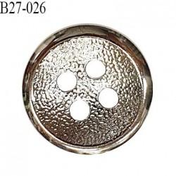 Bouton 27 mm en métal couleur chrome 2 trous diamètre 27 mm épaisseur 4.5 mm prix à l'unité