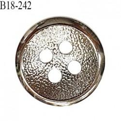 Bouton 18 mm en métal couleur chrome 2 trous diamètre 18 mm épaisseur 4.5 mm prix à l'unité