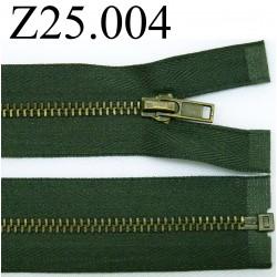 fermeture éclair verte longueur 25 cm couleur vert non séparable zip métal largeur 2,5 cm