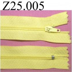 fermeture éclair  longueur 25 cm couleur jaune non séparable zip nylon largeur 2,5 cm