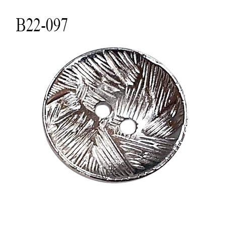 Bouton 22 mm en métal couleur chrome 2 trous diamètre 22 mm épaisseur 2 mm prix à l'unité