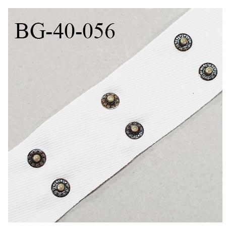Galon rivet 42 mm en coton sergé couleur naturel largeur 42 mm avec 2 rivets en métal couleur laiton bronze prix au mètre