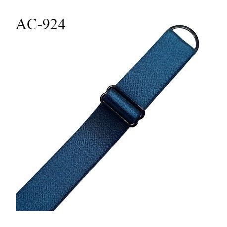 Bretelle lingerie SG 20 mm très haut de gamme couleur bleu abysse satiné avec 1 barrette + 1 anneau prix à l'unité