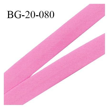 Biais galon 20 mm pré plié au dos 2 rabats de 10 mm coton polyester couleur rose largeur 20 mm prix au mètre