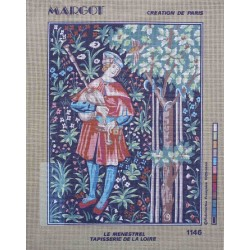 canevas 40x50 marque MARGOT DE PARIS le menestrel tapisserie de la loire  dimension 40 cm par 50 cm 100 % coton