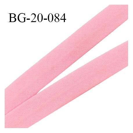 Biais galon 20 mm pré plié au dos 2 rabats de 10 mm coton polyester couleur rose dragée largeur 20 mm prix au mètre