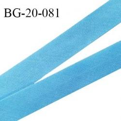 Biais galon 20 mm pré plié au dos 2 rabats de 10 mm coton polyester couleur bleu largeur 20 mm prix au mètre