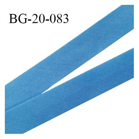 Biais galon 20 mm pré plié au dos 2 rabats de 10 mm coton polyester couleur bleu royal largeur 20 mm prix au mètre