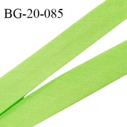 Biais galon 20 mm pré plié au dos 2 rabats de 10 mm coton polyester couleur vert pomme largeur 20 mm prix au mètre