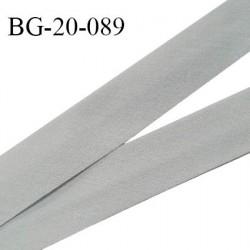 Biais galon 20 mm pré plié au dos 2 rabats de 10 mm coton polyester couleur gris largeur 20 mm prix au mètre