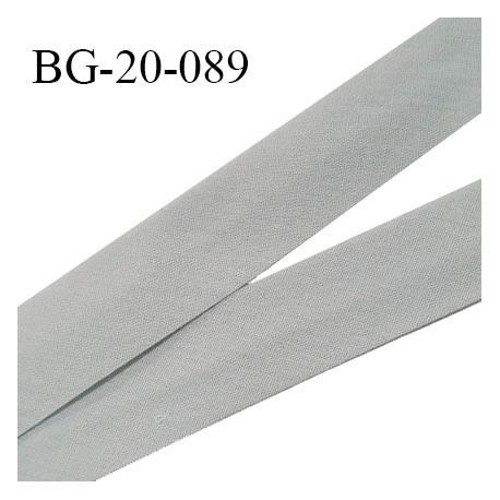 Biais galon 20 mm pré plié au dos 2 rabats de 10 mm coton polyester couleur gris souris largeur 20 mm prix au mètre