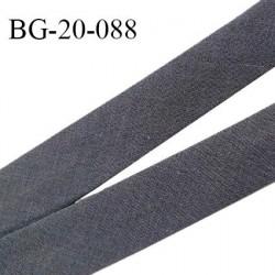 Biais galon 20 mm pré plié au dos 2 rabats de 10 mm coton polyester couleur gris anthracite largeur 20 mm prix au mètre