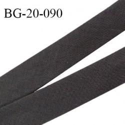 Biais galon 20 mm pré plié au dos 2 rabats de 10 mm coton polyester couleur gris taupe marron largeur 20 mm prix au mètre