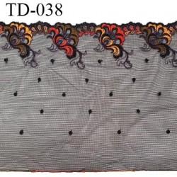 Dentelle 220 mm brodée sur tulle extensible couleur noir haut de gamme douce prix pour 10 cm de longueur