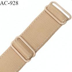 Bretelle 24 mm lingerie SG haut de gamme couleur chair caramel blond finition avec 2 barrettes prix à la pièce