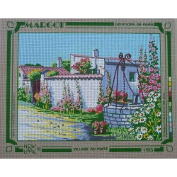 canevas 40x50 marque MARGOT DE PARIS le village au puits dimension 40 centimètres par 50 centimètres 100 % coton