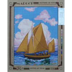 canevas 40x50 marque MARGOT DE PARIS voile bateau de pèche dimension 40 centimètres par 50 centimètres 100 % coton
