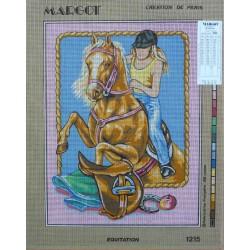 canevas 40x50 marque MARGOT DE PARIS équitation dimension 40 centimètres par 50 centimètres 100 % coton