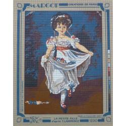 canevas 40x50 marque MARGOT DE PARIS la petite fille d'après t . lawrence dimension 40 centimètres par 50 cm 100 % coton