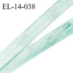 Elastique lingerie 14 mm pré plié haut de gamme couleur vert d'eau brillant largeur 14 mm prix au mètre