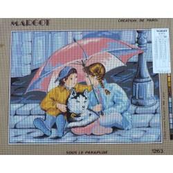 canevas 40x50 marque MARGOT DE PARIS sous le parapluie dimension 40 centimètres par 50 centimètres 100 % coton