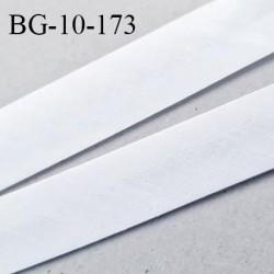 Biais galon 10 mm pré plié au dos 2 rabats de 5 mm coton polyester couleur blanc largeur 10 mm prix au mètre