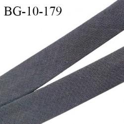 Biais galon 10 mm pré plié au dos 2 rabats de 5 mm coton polyester couleur gris anthracite largeur 10 mm prix au mètre