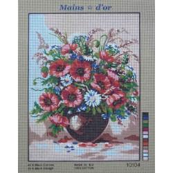 canevas 40x50 marque MAIN D'OR vase et fleurs dimension 40 centimètres par 50 centimètres 100 % coton