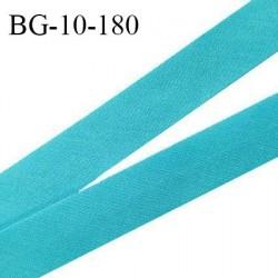 Biais galon 10 mm pré plié au dos 2 rabats de 5 mm coton polyester couleur bleu turquoise largeur 10 mm prix au mètre