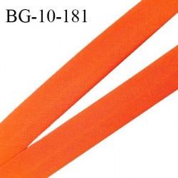 Biais galon 10 mm pré plié au dos 2 rabats de 5 mm coton polyester couleur orange corail largeur 10 mm prix au mètre