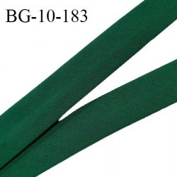 Biais galon 10 mm pré plié au dos 2 rabats de 5 mm coton polyester couleur vert sapin largeur 10 mm prix au mètre