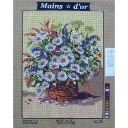 canevas 40x50 marque MAINS D'OR panier et marguerites fleurs dimension 40 centimètres par 50 centimètres 100 % coton