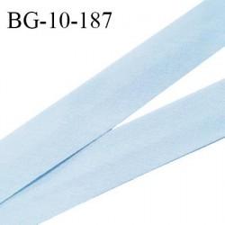 Biais galon 10 mm pré plié au dos 2 rabats de 5 mm coton polyester couleur bleu ciel largeur 10 mm prix au mètre
