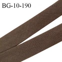 Biais galon 10 mm pré plié au dos 2 rabats de 5 mm coton polyester couleur marron largeur 10 mm prix au mètre
