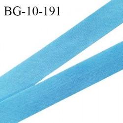 Biais galon 10 mm pré plié au dos 2 rabats de 5 mm coton polyester couleur bleu largeur 10 mm prix au mètre
