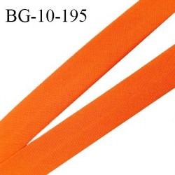 Biais galon 10 mm pré plié au dos 2 rabats de 5 mm coton polyester couleur orange carotte largeur 10 mm prix au mètre