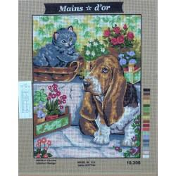 canevas 40x50 marque MAINS D'OR chien et chat dimension 40 centimètres par 50 centimètres 100 % coton