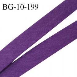 Biais galon 10 mm pré plié au dos 2 rabats de 5 mm coton polyester couleur violet largeur 10 mm prix au mètre