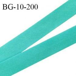 Biais galon 10 mm pré plié au dos 2 rabats de 5 mm coton polyester couleur vert bleu largeur 10 mm prix au mètre