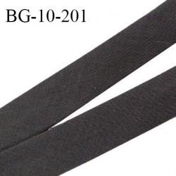 Biais galon 10 mm pré plié au dos 2 rabats de 5 mm coton polyester couleur café largeur 10 mm prix au mètre