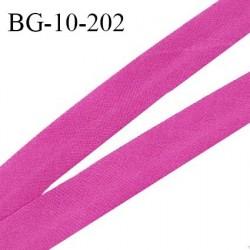 Biais galon 10 mm pré plié au dos 2 rabats de 5 mm coton polyester couleur pivoine largeur 10 mm prix au mètre