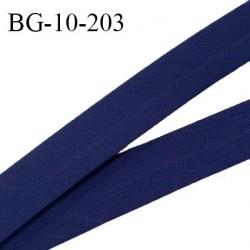 Biais galon 10 mm pré plié au dos 2 rabats de 5 mm coton polyester couleur bleu marine largeur 10 mm prix au mètre