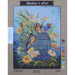 canevas 40x50 marque MAINS D'OR oiseaux cage dimension 40 centimètres par 50 centimètres 100 % coton