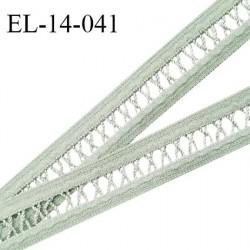 Elastique 14 mm lingerie entre-deux croisillons couleur vert de gris haut de gamme largeur 14 mm prix au mètre