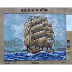 canevas 40x50 marque MAINS D'OR voilier bateau vieux grément dimension 40 centimètres par 50 centimètres 100 % coton