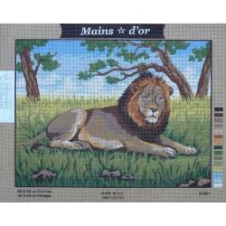 canevas 40x50 marque MAINS D'OR le lion dimension 40 centimètres par 50 centimètres 100 % coton