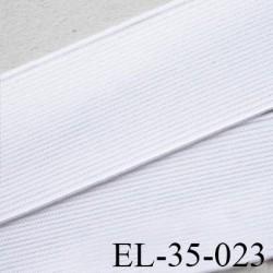 Elastique 35 mm plat très très belle qualité couleur blanc brillant forte élasticité style brodé largeur 35 mm prix au mètre