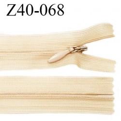 Fermeture zip 40 cm couleur sable non séparable avec glissière nylon largeur 2.5 cm largeur de la glissière 5 mm prix à l'unité