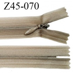 Fermeture zip 45 cm couleur kaki clair non séparable avec glissière nylon largeur 2.5 cm prix à l'unité